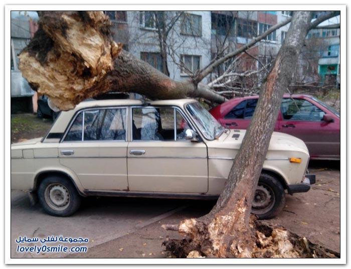 آثار العواصف في شمال غرب روسيا